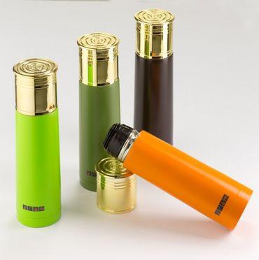 Thermoskanne Schrotpatrone verschiedene Farben orange, grün, braun Jägergeschenk - Hit