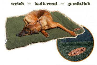 Hundebett Faserpelz mit Thermofüllung HUBERTUS isolierende Hundedecke grün – Bild 1