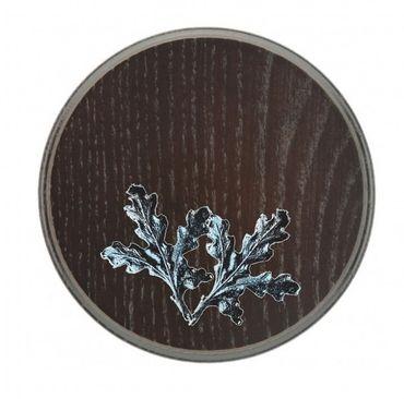 KEILERBRETT Trophäenschild für Keilerwaffen rund 16cm dunkel inkl. Eichenlaub silberfarben