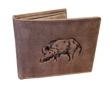 AKAH Geldbörse mit Keiler Wildschwein Motiv Geldbeutel Portmonee Büffel Antik Leder
