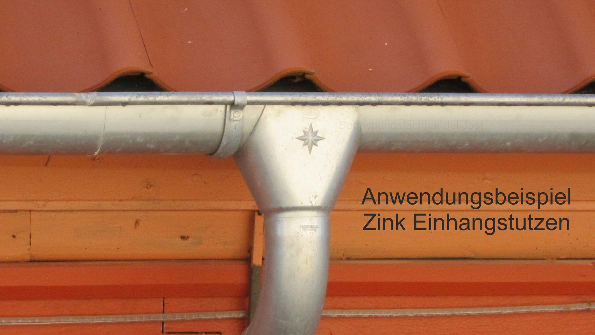 6 tlg Nenngr/ö/ße 333 mm mit 100 mm Rohrabgang Rinneneinhangstutzen Einhangstutzenverzinkt von Roofart