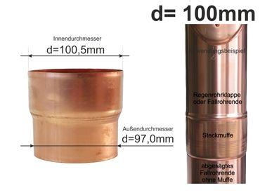Kupfer Steckmuffe Fallrohrmuffe Fallrohr Reduzierung d=100mm