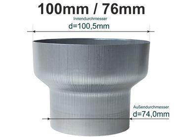 Zink Reduzierstück Fallrohr Reduzierung d=100/76mm oder Übergang auf HT 75mm – Bild 1