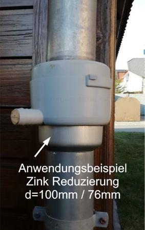 Zink Reduzierstück Fallrohr Reduzierung d=100/76mm oder Übergang auf HT 75mm – Bild 3