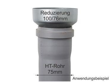 Zink Reduzierstück Fallrohr Reduzierung d=100/76mm oder Übergang auf HT 75mm – Bild 2