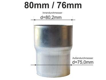 Zink Reduzierstück Fallrohr Reduzierung d= 80/76mm oder Übergang auf HT 75mm – Bild 1