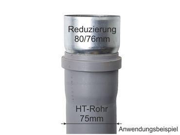 Zink Reduzierstück Fallrohr Reduzierung d=80/76mm oder Übergang auf HT 75mm – Bild 2