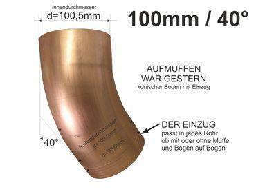 Kupfer Fallrohrbogen mit Einzug d=100mm x 40° Fallrohr Bogen  – Bild 1