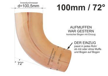 Kupfer Fallrohrbogen mit Einzug d=100mm x 72° Fallrohr Bogen  – Bild 1