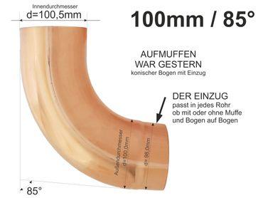 Kupfer Fallrohrbogen mit Einzug d=100mm x 85° Fallrohr Bogen  – Bild 1