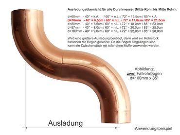 Kupfer Fallrohrbogen mit Einzug d= 76mm x 72° Fallrohr Bogen – Bild 2