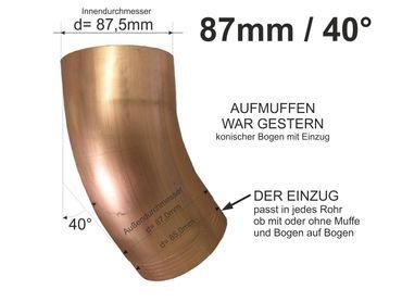 Kupfer Fallrohrbogen mit Einzug d= 87mm x 40° Fallrohr Bogen  – Bild 1