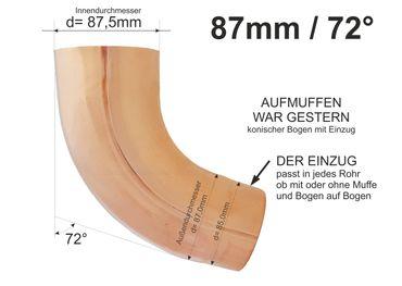 Kupfer Fallrohrbogen mit Einzug d= 87mm x 72° Fallrohr Bogen  – Bild 1