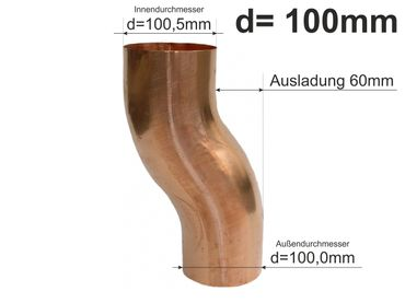 Kupfer Fallrohr Sockelknie Sockelwinkel Etagenbogen d=100mm