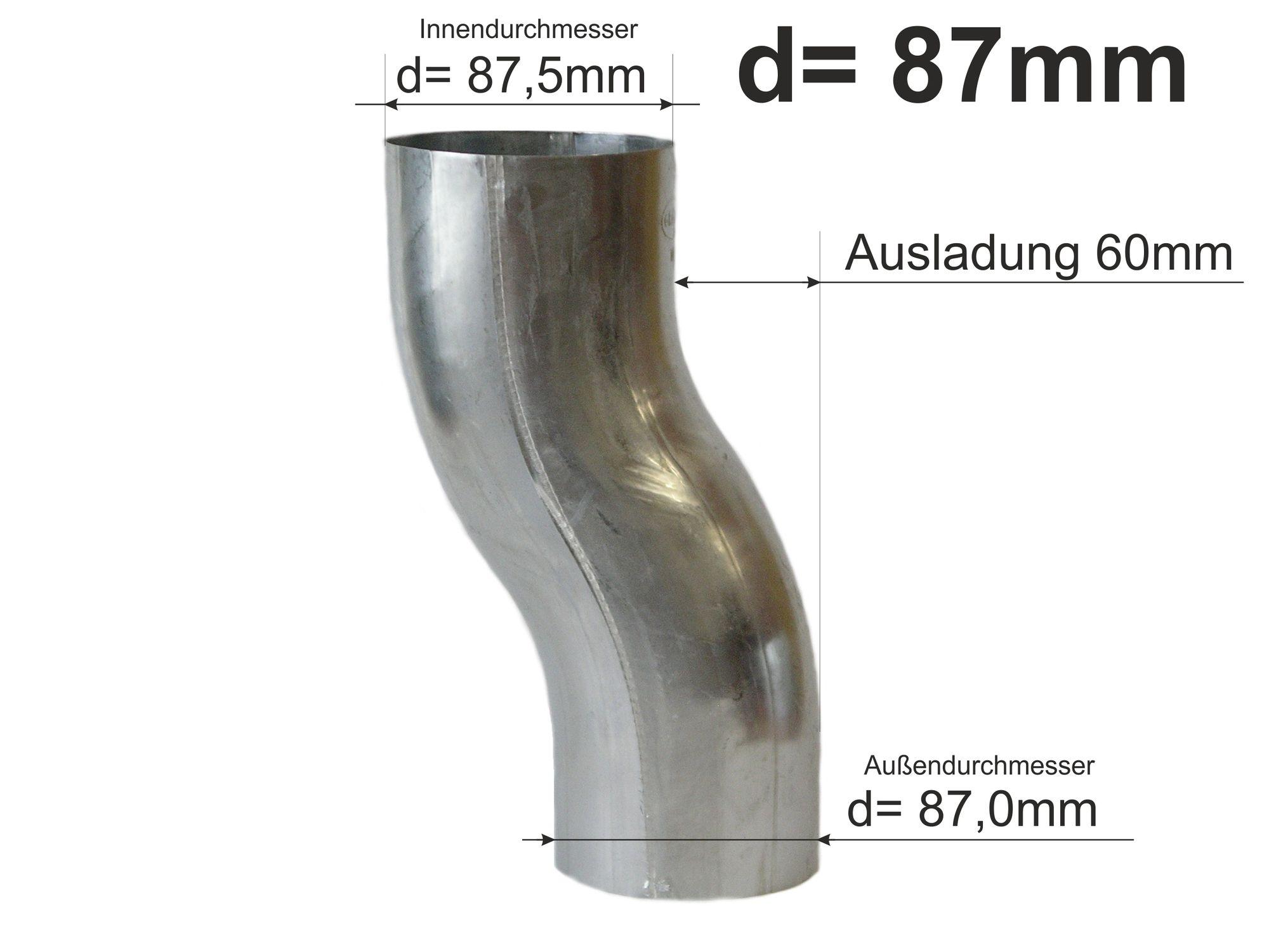 87 mm 80 Sockelknie mit 60 mm Ausladung Kupfer in den Gr/ö/ßen 76 87 und 100 mm