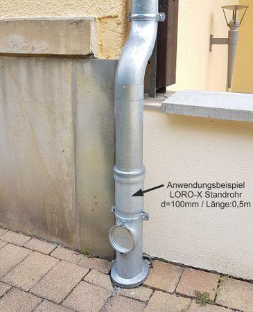 verzinkt LORO-X Standrohr mit Reinigung 100x500mm Innenbesch.