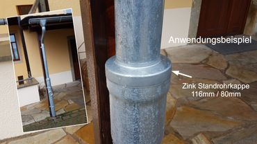 Zink Standrohrkappe 116 x  80mm – Bild 2