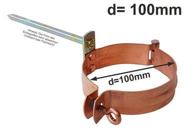 Kupfer Fallrohrschelle mit 140mm Schlagstift d=100mm