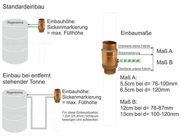 Kupfer Fallrohr Regensammler mit Schlauch d=120mm frostsicher  – Bild 2