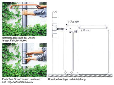Rheinzink Regensammler d=100mm Regenwassersammler + 1m Schlauch – Bild 3