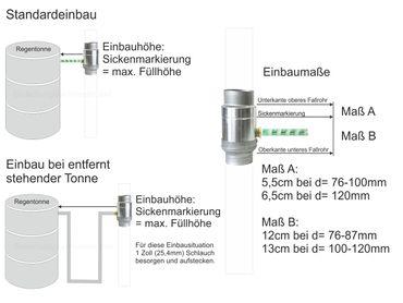 Zink Fallrohr Regensammler mit Schlauch d=120mm frostsicher  – Bild 2