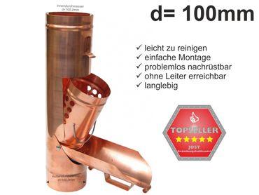 Kupfer Regenrohrklappe d=100mm Laubfänger, Laubfangkorb – Bild 1
