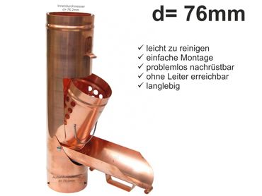 Kupfer Regenrohrklappe d= 76mm Laubfänger, Laubfangkorb – Bild 1