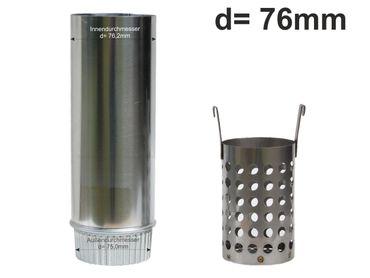 Zink Laubfänger Ratio mit Fallrohr Schiebemuffe und Edelstahl Laubfangkorb d= 76mm – Bild 1