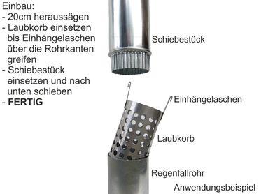 Zink Laubfänger Ratio mit Fallrohr Schiebemuffe und Edelstahl Laubfangkorb d= 80mm – Bild 2