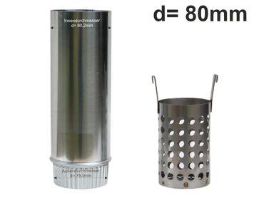 Zink Laubfänger Ratio mit Fallrohr Schiebemuffe und Edelstahl Laubfangkorb d= 80mm – Bild 1