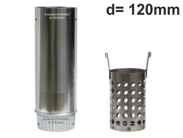 Zink Laubfänger Ratio mit Fallrohr Schiebemuffe und Edelstahl Laubfangkorb d=120mm – Bild 1