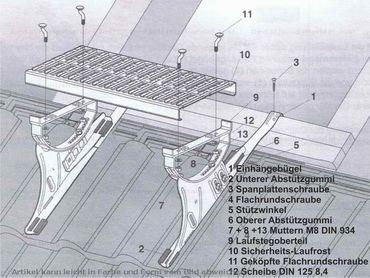 Kupfer  Laufsteghalter Laufstegstütze für alle Dachziegel – Bild 2