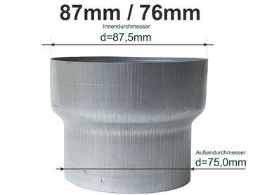 Zink Reduzierstück Fallrohr Reduzierung d= 87/76mm oder Übergang auf HT 75mm – Bild 1