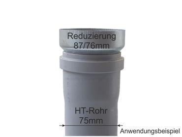 Zink Reduzierstück Fallrohr Reduzierung d=87/76mm oder Übergang auf HT 75mm – Bild 2