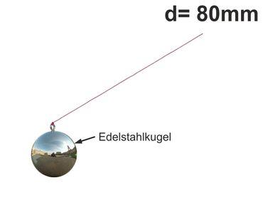 Ersatzkugel Edelstahl / Schwimmer d=80mm mit Schnur für Regenrohrklappe – Bild 1
