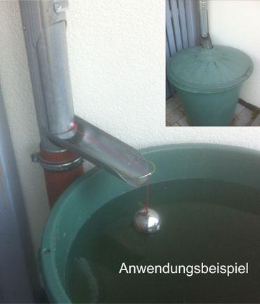 Ersatzkugel Edelstahl / Schwimmer d=80mm mit Schnur für Regenrohrklappe – Bild 6