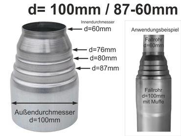 Zink Passkonus Reduzierung Fallrohr d=100/87-60mm – Bild 1