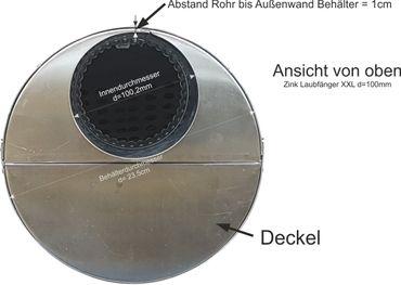Zink Fallrohr Laubfang d=100mm Laubfänger, Laubfangkorb XXL – Bild 2