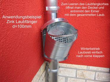 Zink Fallrohr Laubfang d=120mm Laubfänger, Laubfangkorb XXL – Bild 4