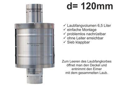 Zink Fallrohr Laubfang d=120mm Laubfänger, Laubfangkorb XXL – Bild 1