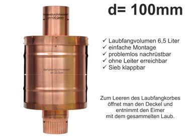 Kupfer Fallrohr Laubfang d=100mm Laubfänger, Laubfangkorb XXL – Bild 1