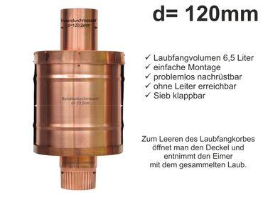 Kupfer Fallrohr Laubfang d=120mm Laubfänger, Laubfangkorb XXL – Bild 1