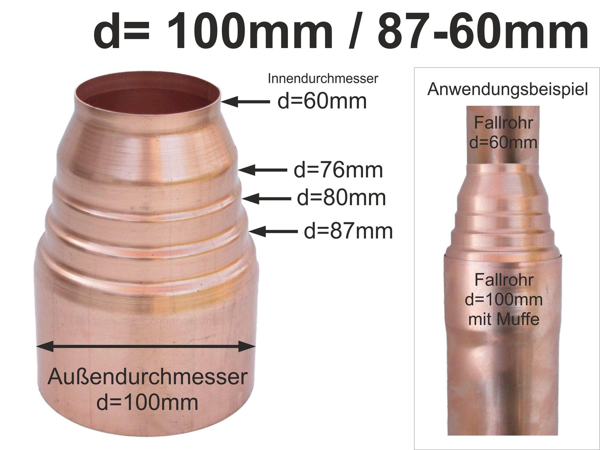 Kupfer Dunsthaube DN 60 zum Stecken