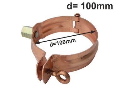Kupfer Fallrohrschelle mit Mutter M10 d=100mm, Rohrschellen, Regenrohrschelle