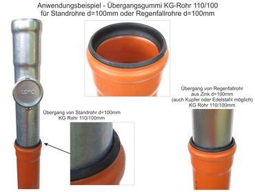 Übergangsgummi KG-Rohr 100/110mm / Standrohr u. Fallrohr 100mm – Bild 2