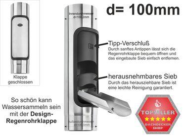 Zink Fallrohr Design Regenrohrklappe d=100mm mit Sieb – Bild 1