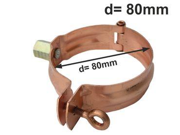 Kupfer Fallrohrschelle mit Mutter M10 d= 80mm, Rohrschellen, Regenrohrschelle