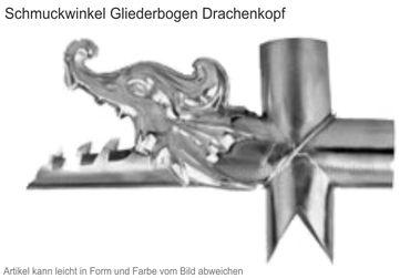Zink Winkelstück Drachenkopf (Einzelstück ohne Gliederbogen)  – Bild 1