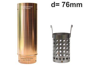 Kupfer Laubfänger Ratio mit Fallrohr Schiebemuffe und Edelstahl Laubfangkorb d= 76mm