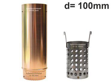 Kupfer Laubfänger Ratio mit Fallrohr Schiebemuffe und Edelstahl Laubfangkorb d=100mm